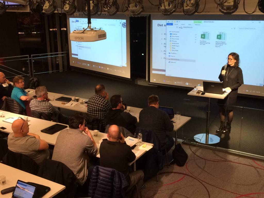 Styreleder Kari Lindevik i Divisjonsforeningen presenterte årets beregning av reisestøtte i PostNord og Regionsligaen.