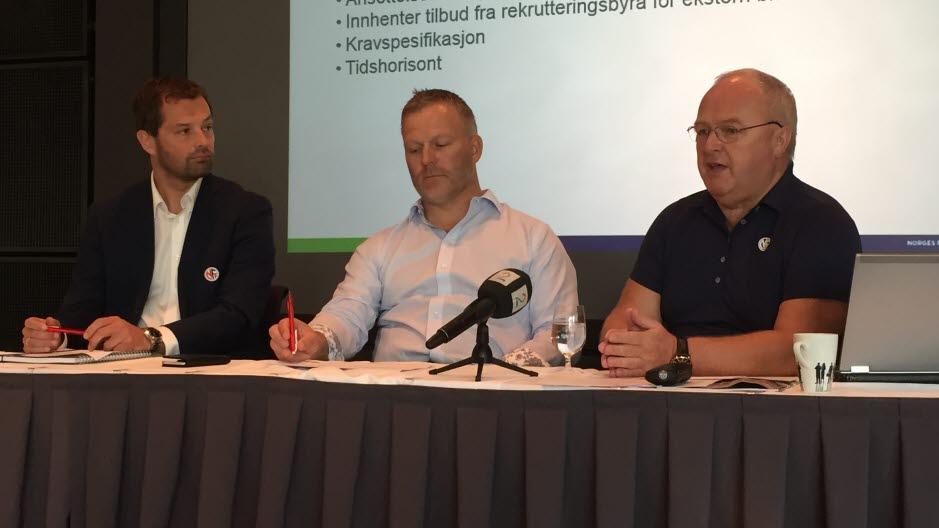Yngve Haavik, Kai-Erik Arstad og Terje Svendsen informerte media etter Forbundsstyremøtet 1. og 2. juli.